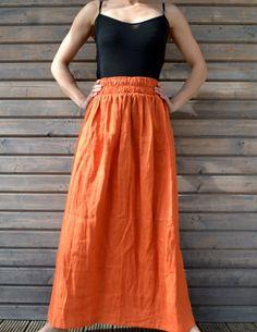 Longue jupe en lin / Orange jupe à volants, / jupe Lin / Lin ample jupe / jupe…