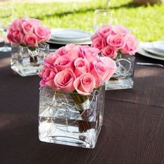 pink rose centerpieces w/silver wire maybe black instead. with tea lights and more wire around it. white or black tablecloths. this is perfect! Pretty simple but like the roses but maybe not the color Black Wedding Themes, Pink Wedding Theme, Wedding Flowers, Wedding Ideas, Table Wedding, Wedding Colors, Wedding Bouquets, Pink Wedding Centerpieces, Wedding Decorations