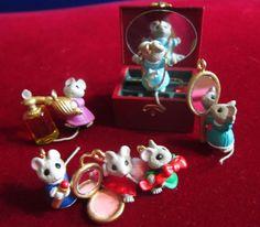 Hallmark Ornament Miniature Mice Tiny Treasures Dated 1995 Set of 6 New in Box