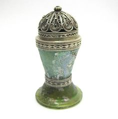 Vintage 925 Silver Roman Glass Spice Tower Besamim