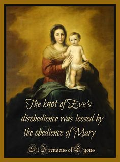 Behold thy Mother and Holy Queen! 'The knot of Eve's disobedience was loosed by the obedience of Mary.' -St Irenaeus of Lyons Catholic Religion, Catholic Quotes, Catholic Art, Catholic Saints, Roman Catholic, Santa Maria, Jesus And Mary Pictures, Hail Holy Queen, Early Church Fathers