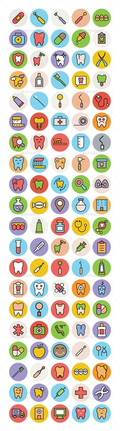 100 Dental Colored Vector Icons