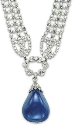 Detail: Antique Edwardian seed pearl, sapphire, and diamond sautoir by Cartier, circa 1910s. Via Diamonds in the Library.