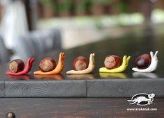 1 marron + de la pâte à modeler = 1 escargot automnal / C'est la saison des marrons | Sakarton