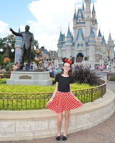 This was my Minnie Mouse outfit for Disney. The ears are from Disney ($27.99). The black crop is from Amazon ($7.98). Red polka dot skirt from Amazon ($11.98). Black flats from Old Navy ($6.99). Minnie Mouse Skirt, Minnie Mouse Costume, Red Polka Dot Skirt, Polka Dots, Mouse Outfit, Disney Bounding, Disney World Trip, Disney Outfits, Disneybound
