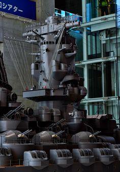 1/10 IJN Battleship Yamato | Yamato Museum | Kure city, Hiroshima prefecture, Japan. 「大和ミュージアム(呉市海事歴史科学館)」 広島県呉市宝町 Yamato Class Battleship, Model Warships, Military Drawings, Imperial Japanese Navy, Gundam Model, Hiroshima, War Machine, Usmc, Scale Models