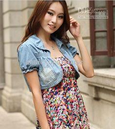 Fashion Women Spring Summer Casual Denim Jeans Short Tops Blouse Shrug Short Sleeve Light Blue, $11.17 | DHgate.com