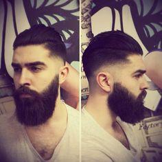 Chris John Millington getting a haircut - full thick dark beard and mustache beards bearded man men men's style hair hairstyles cut barber so handsome #beardsforever #goodhair