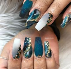 How to choose your fake nails? - My Nails Cute Acrylic Nail Designs, Marble Nail Designs, Nail Art Designs, Nails Design, Teal Nails, Coffin Nails Matte, Teal Nail Art, Acrylic Nails Stiletto, Pointy Nails