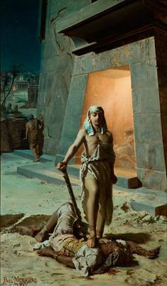 """""""Moses Killing an Egyptian"""" (1883) by Paweł Merwart (Polish-French;1855- 1902), oil on canvas, National Museum, Cracow"""