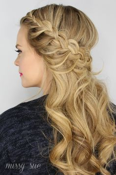 braid styles with hair waterfall braid half up half with curls 7906