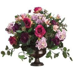Allstate Floral Rose/Hydrangea/Aster Faux Flower Arrangement