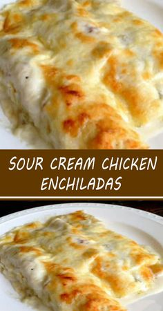 Chicken Enchiladas Green Sauce, Sour Cream Enchiladas, White Sauce Recipes, Sour Cream Chicken, Enchilada Recipes, Mexican Food Recipes, Mexican Dishes, Queso, Creme