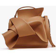 N�21  Knot Detail Clutch Shoulder Bag ($525) ❤ liked on Polyvore featuring bags, handbags, shoulder bags, shoulder strap handbags, shoulder strap bags, brown shoulder bag, brown leather shoulder bag and genuine leather purse
