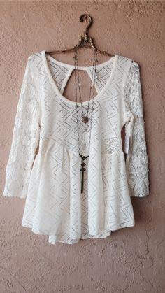 free people bohemian crochet lace open back blouse