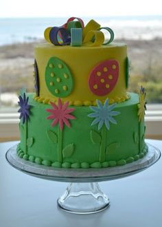 Easter cake with eggs and flowers