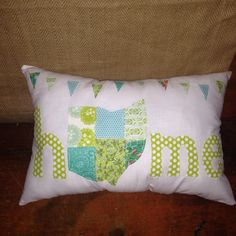 Handmade Patchwork Ohio Home Pillow. Patchwork by FrecklesJewelry