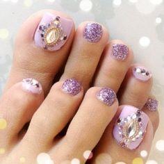 Violet toe nails