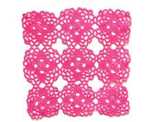 Pink fuchsia square hand dyed Crochet Vintage Doily