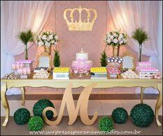 aniversário de 1 ano Gold Birthday Party, Sweet 16 Birthday, 1st Birthday Girls, 16th Birthday, Birthday Parties, Princess Theme Party, Princess Birthday, Baby Decor, Kids Decor