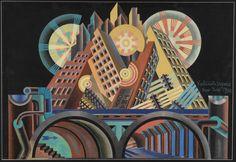 Fortunato Depero, Grattacieli e tunnel (Skyscrapers and Tunnel), 1930 tempera on cardboard,  68 x 102 cm, Mart, Museo di arte moderna e contemporanea di Trento e Rovereto
