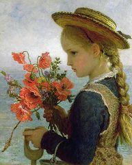 Women Art - Poppy Girl by Karl Wilhelm Friedrich Bauerle