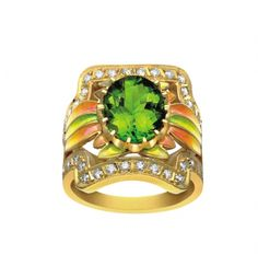 """MASRIERA"" Art Nouveau Emerald Ring with Enamel & Diamonds"