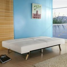 White Leatherette Futon Sofa Bed with Chrome Metal Legs