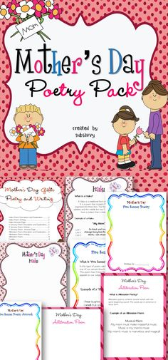 For all Primary ages! 11 pages of creative Mother's Day poetry gifts/activities for primary ages! (1st through 6th) This pack will be sure to keep your students engaged and busy! Common Core Aligned! W.4.2, W.3.2, W.2.2