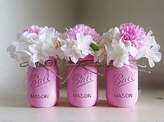 Pink Distressed Pint Size Mason Jars with Dainty Twine Bows (Set of 3), Baby shower, Wedding, and Rustic Home Decor, Centerpieces for Events by MyHeartByHand on Etsy