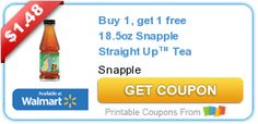 Buy 1, get 1 free 18.5oz Snapple Straight Up Tea coupon on http://www.icravefreebies.com/