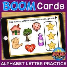 THIS IS AN INTERACTIVE DIGITAL RESOURCE.  ABOUT THIS BOOM DECK:  Students will demonstrate recognition of letter names by identifying pictures which begin with each letter of the alphabet. Students will drag a star onto the pictures that begin with the given letter.