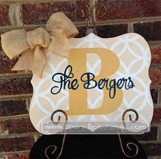 Monogrammed Sign with Burlap by Sparkled Whimsy  Housewares  Sign  Phrase  Sign  decor  decoration  personalized  gift  wedding sign  reception sign  bridal sign rustic wedding  kitchen sign  monogram  burlap  name