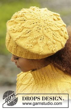 Hello sunshine / DROPS - free knitting patterns by DROPS design - Hello Sunshine / DROPS – The set includes: DROPS beret and collar scarf knitted from top t - Drops Design, Crochet Beret, Knitted Hats, Knitting Patterns Free, Free Knitting, Free Pattern, Warm Winter Hats, Hello Sunshine, Lima