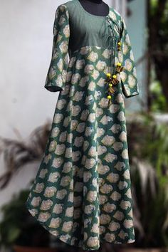 anghrakha dress - green pakshi & dori