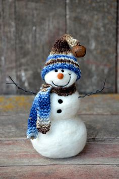 Needle Felted Snowman Solid Wool 432 by BearCreekDesign on Etsy