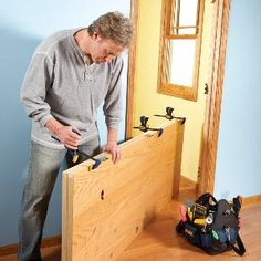 Replacing a door in an existing door frame is easier and much cheaper than pulling out the trim and frame and installing a prehung door, because you have the old door as a template.