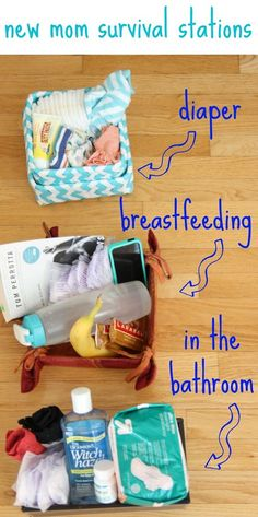 New Mom Survival Stations.. such a great idea on what to prepare postpartum!