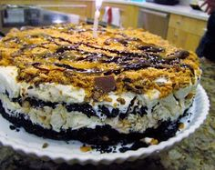 Oreo Crumbled, Butterfinger Vanilla Ice Cream cake, drizzled with Hot Fudge Sauce.. Delicious Dairy Queen Icecream Cake spin-off!