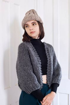 Image of Perth Chunky Cardigan of Peruvian wool (shown in charcoal -more colours)