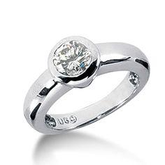 14k Solid Gold Round Bezel Solitaire Diamond Ring # jewelrynest.com