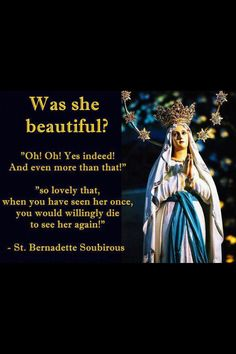 Bernadette was privileged to see a vision of Our Lady. Catholic Quotes, Catholic Prayers, Catholic Saints, Roman Catholic, Catholic Beliefs, Catholic Art, Religious Quotes, Blessed Mother Mary, Blessed Virgin Mary