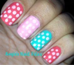 Easter nails I did:) Corral, Bubble pink, and Tiffany blue nail polish w/ poka dots