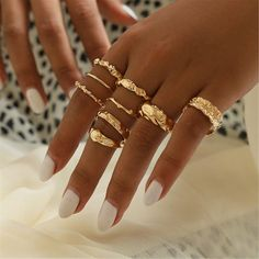 Shop & Buy 9 Pcs/set Bohemia Fashion Joint Ring Simple Geometric Golden Finger Ring Set Women Exquisite Party Jewelry Accessories Online from Aalamey Jewelry Party, Cute Jewelry, Gold Jewelry, Jewelery, Jewelry Accessories, Women Jewelry, Fashion Jewelry, Women's Fashion, Women Accessories