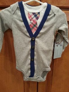 Baby Boy Cardigan AND Tie Onesie-Newborn to 24 month, easter onesie, cardigan onesie, easter outfit. $38.00, via Etsy.