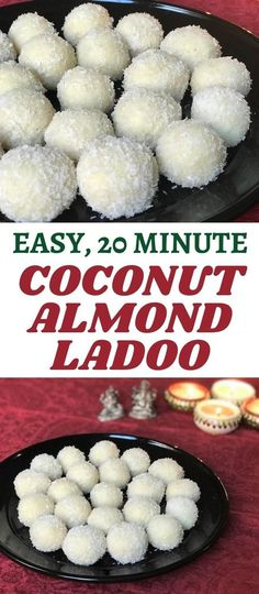 Coconut Almond Laddoos are a quick and easy sweet made with almond powder, desiccated coconut and sweetened condensed milk. Ready in 20 minutes! | Coconut Almond Truffles | Indian Desserts | Coconut Ladoo | Nariyal Ladoo | #diwalirecipe #indiansweets | pipingpotcurry.com Paneer Recipes, Lentil Recipes, Curry Recipes, Vegetarian Recipes, Indian Fish Recipes, North Indian Recipes, Fudge, Indian Cookies, Diwali Food