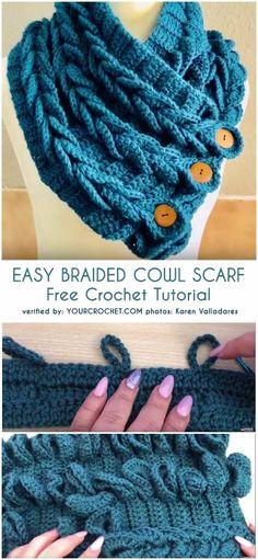 Easy Crochet Patterns Easy Braided Cowl Free Crochet Tutorial - All the best free crochet patterns. Crochet Cowl Free Pattern, Crochet Mittens, Easy Crochet Patterns, Crochet Scarves, Crochet Shawl, Crochet Baby, Knitting Patterns, Knit Crochet, Crochet Braids