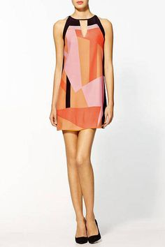 """Parker Printed Silk Colorblock Dress, $198;  target=""""new"""">piperlime.com Courtesy of Piperlime  - ELLE.com"""