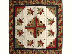 Gold Red and Sage Autumn Splendor Log Cabin Throw / Wall Hanging -- outstanding handcrafted quilt from Lancaster PA. Ably made by an Amish woman in her own home. Colchas Quilting, Quilting Projects, Quilting Designs, Quilting Thread, Amische Quilts, Fall Quilts, Log Cabin Quilt Pattern, Log Cabin Quilts, Log Cabins