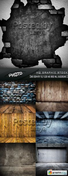 Stock Photo  Dark room with tile floor and brick wall background 2  stock images